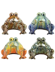 "10"" Ceramic Toad Houses in Assorted Colors - 4 Per Case"