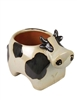 Ceramic Spotted Cow Planter - Black and White