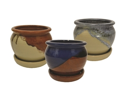 "6"" Ceramic Fusion Pots w/ Attached Saucers, 3 Assorted Colors"