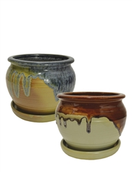 "8"" Ceramic Fusion Pots w/ Attached Saucers, 2 Assorted Colors"