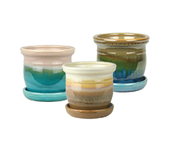 "5.9"" Round Ceramic Fusion Pots with Attached Saucers, 3 Assorted Colors, 6 Per Case"
