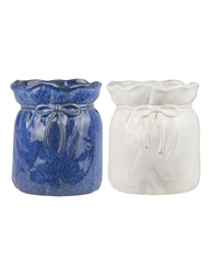 Round Ceramic Planter Bag with Bow, 2 Assorted Colors, 4 Per Case