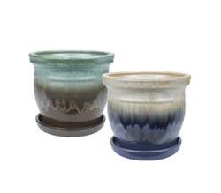 "7.75"" Round Ceramic Fusion Pots w/ Attached Saucer, 2 Assorted Colors, 4 Per Case"