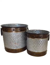 S/2 Antiqued Metal Buckets