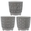 "5.5"" Round Footed Deco Cylinder w/Drain Hole and Liner, 3 Assorted, 6/case, holds a 4.5"" pot"