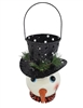 Metal Snowman w/ Hat Planter