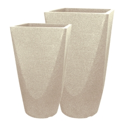 Set of 2 Tall Fusion Square Pots - Sandstone