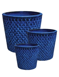 S/3 Round Pots w/ Diamond Design - Falling Blue