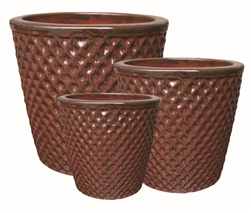 S/3 Round Pots w/ Diamond Design - Red