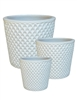 S/3 Round Pots w/ Diamond Design - White