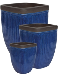 S/3 Square Glazed Ironstone Pots w/ Unglazed Rims - Dark Blue