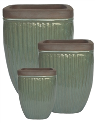S/3 Square Glazed Ironstone Pots w/ Unglazed Rims - Falling Green