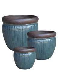 S/3 Round Ironstone Pots w/ Unglazed Rims - Deep Sea Blue