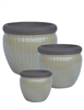 S/3 Round Ironstone Pots w/ Unglazed Rims - Yellow