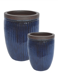 S/2 Tall Round Ironstone Pots w/ Unglazed Rims - Dark Blue