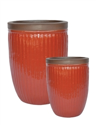 S/2 Tall Round Ironstone Pots w/ Unglazed Rims - Red