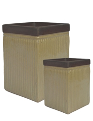 S/2 Tall Square Ironstone Pots w/ Unglazed Rims - Yellow