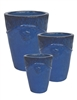 S/3 Glazed Villa Pots - Dark Blue