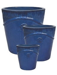 S/3 Large Round Villa Pots - Dark Blue