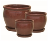 S/3 Round Glazed Pots w/ Attached Saucers - Red