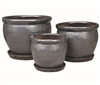 S/3 Round Glazed Pots w/ Attached Saucers - Smoky Black