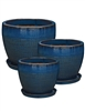 S/3 Round Glazed Pots w/ Attached Saucers - Blue