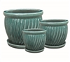 S/3 Round Glazed Pots w/ Attached Saucers - Teal