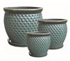 S/3 Round Glazed Pots w/ Attached Saucers - Falling Green