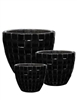 S/3 Round Quilted Pots - Black