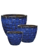 S/3 Round Quilted Pots - Falling Blue