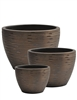 S/3 Round Line Pots - Rough Metal Copper