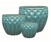S/3 Ornate Glazed Diamond Planters - Teal