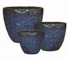 S/3 Ornate Glazed Deco Planters - Blue