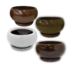 "8"" Low Bowl w/Attached Saucer Asst Earthtone Colors; 8/case"
