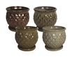 "6.25"" Diamond Pots w/Attached Saucers, 4 Assorted Colors"