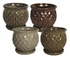 "8.5"" Diamond Pots w/Attached Saucers, 4 Assorted Colors"