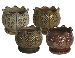 "6"" Leaf Pots w/Attached Saucers, 4 Assorted Colors"