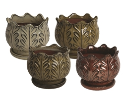 "7.5"" Leaf Pots w/Attached Saucers"