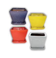 "5"" Single Square Planter w/Attached Saucer Asst Bright Colors; 8/case; holds a 4.5"" pot"