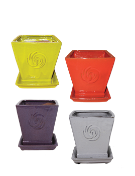 "7"" Square Planter w/Attached Saucer Asst Bright Colors; 4/case; holds 6"""