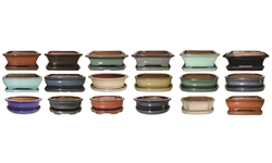 "6"" Glazed Bonsai Pots w/Attached Saucers, 18 Per Case"