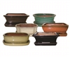 "8"" Glazed Bonsai Pots w/Attached Saucers, 6 Per Case"