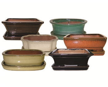 "10"" Glazed Bonsai Pots w/Attached Saucers, 6 Per Case"