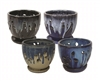 "7"" Orchid Pots w/ Attached Saucers, 4 Assorted Colors"