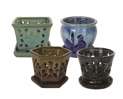 "5.5"" Orchid Pots w/ Attached Saucers, 4 Assorted Styles and Colors"