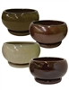 "10"" Low Round Planter Bowl w/ Attached Saucer, 4 Assorted Earthtone Colors, 4 Per Case"