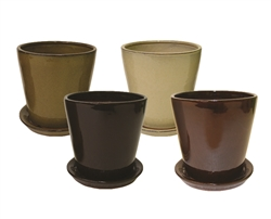 Tapered Round Pots w/ Attached Saucer, 4 Assorted Earthtone Colors, 12 Per Case