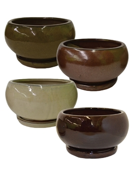 Low Round Planter Bowl w/ Attached Saucer, 4 Assorted Earthtone Colors, 8 Per Case