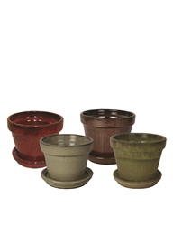 "4.25"" Round Pots w/ Attached Saucer, 4 Assorted Colors"