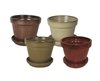 "6.75"" Round Pots w/ Attached Saucer, 4 Assorted Colors"